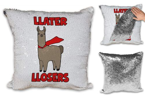 LLater Losers Funny Sequin Reveal Magic Cushion Cover